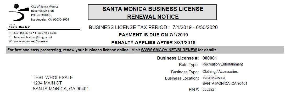 Renewal notice instructions finance department city of santa please note if your business has changed location or business activity you may be subject to additional fees see change or update information for further xflitez Choice Image